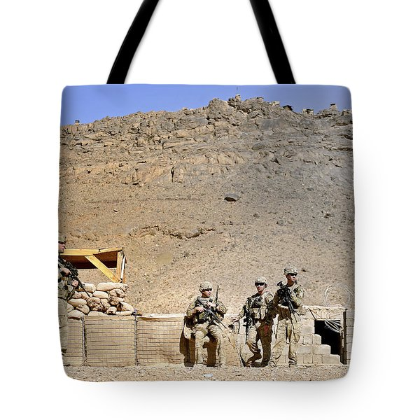 Soldiers Wait For Afghan National Tote Bag by Stocktrek Images