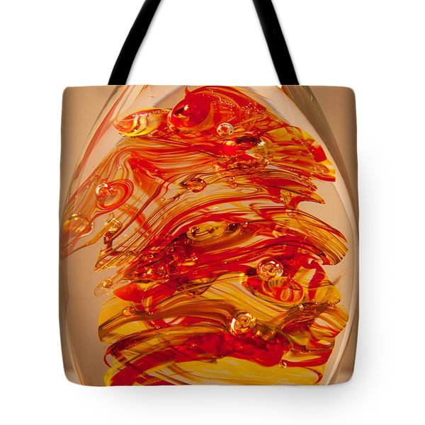 Solid Glass Sculpture Ef Fire Tote Bag by David Patterson