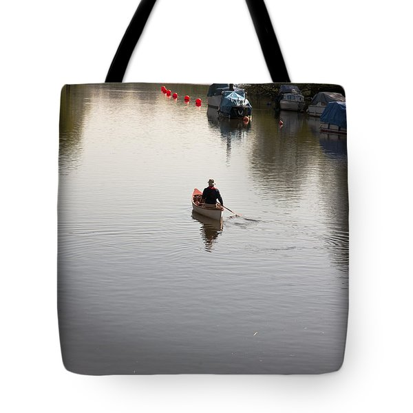Tote Bag featuring the photograph Solo Rowing by Maj Seda