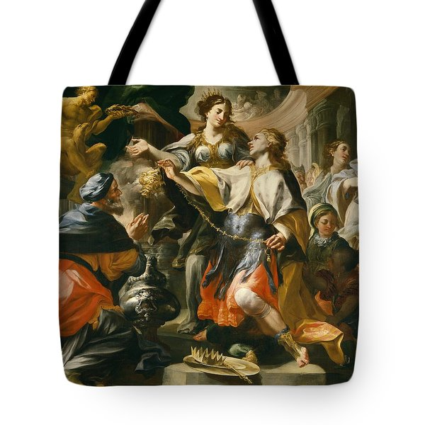Solomon Worshiping The Pagan Gods Tote Bag by Domenico Antonio Vaccaro