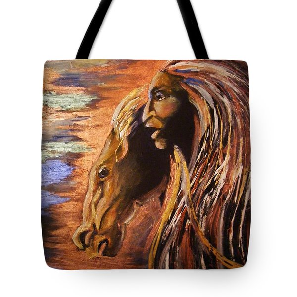 Tote Bag featuring the painting Soul Of Wild Horse by Karen  Ferrand Carroll