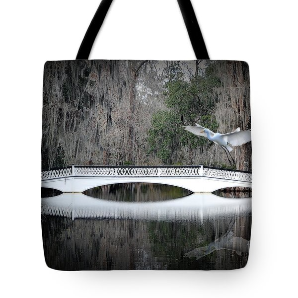 Tote Bag featuring the photograph Southern Plantation Flying Egret by Dan Friend