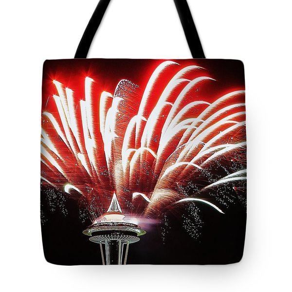 Space Needle Fireworks Tote Bag by Benjamin Yeager