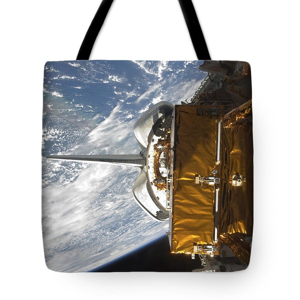 Space Shuttle Atlantis Payload Bay Tote Bag by Stocktrek Images