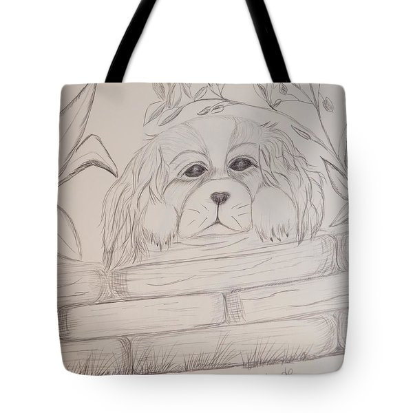 Tote Bag featuring the drawing Spaniel Pup by Maria Urso