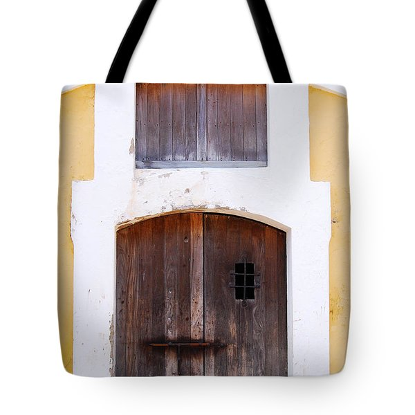 Spanish Fort Door Castillo San Felipe Del Morro San Juan Puerto Rico Prints Tote Bag by Shawn O'Brien