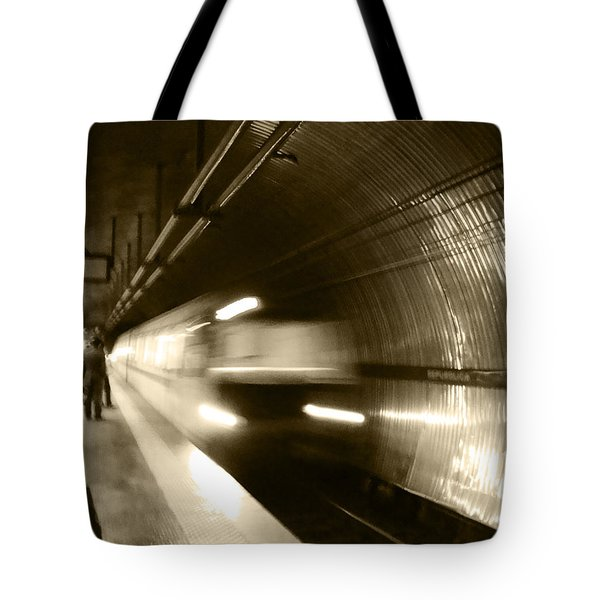 Speeding Train Tote Bag by Marta Cavazos-Hernandez