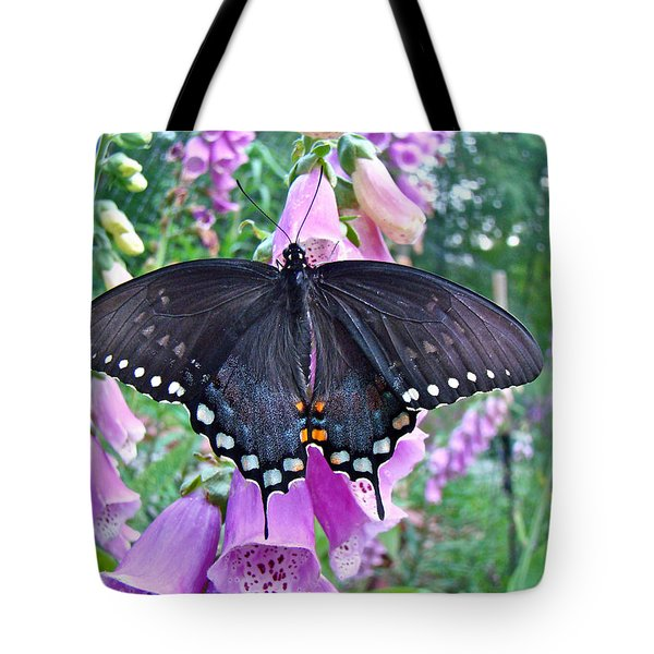 Spicebush Swallowtail Butterfly On Foxgloves - Papilio Troilus Tote Bag by Mother Nature
