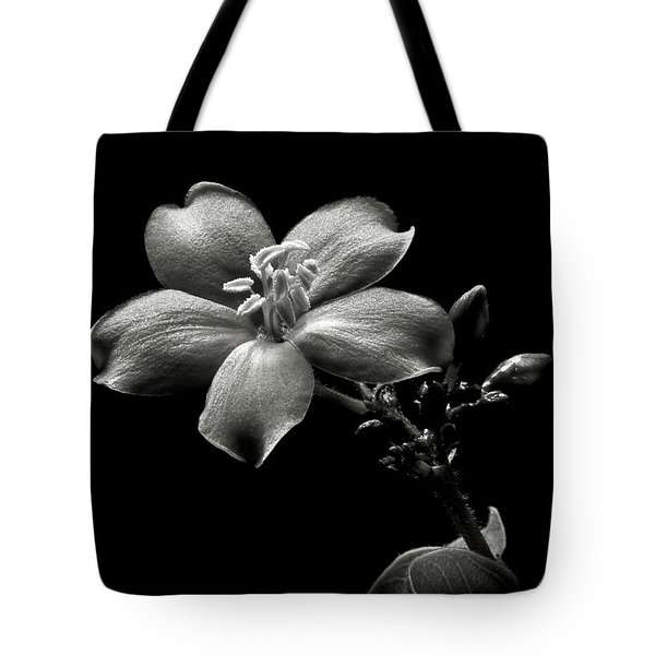 Spicy Jatropha In Black And White Tote Bag
