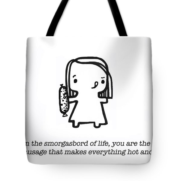 Tote Bag featuring the painting Spicy Sausage by Leanne Wilkes
