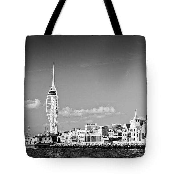 Spinnaker Tower And Round Tower Portsmouth Bw Tote Bag