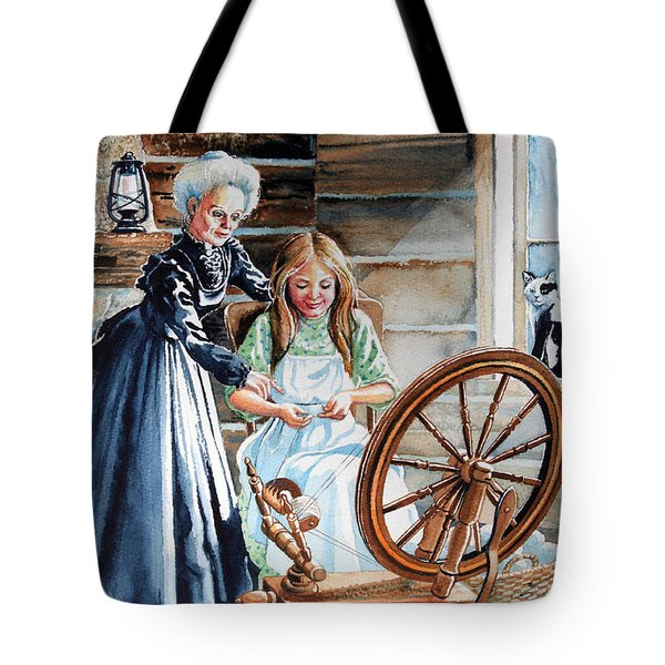 Spinning Wheel Lessons Tote Bag by Hanne Lore Koehler