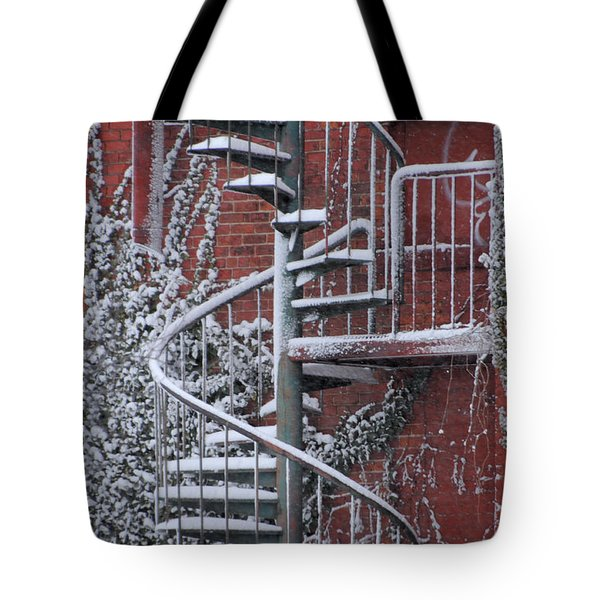 Spiral Staircase With Snow And Cooper's Hawk Tote Bag
