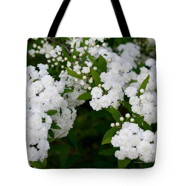 Tote Bag featuring the photograph Spirea Blooms by Maria Urso
