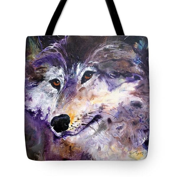 Spirit Wolf Tote Bag by Sherry Shipley