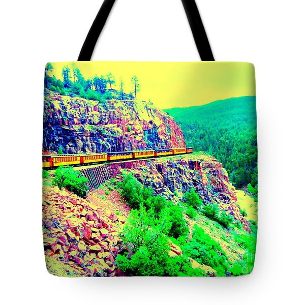 Tote Bag featuring the photograph Splendid View From The Last Train Car by Ann Johndro-Collins