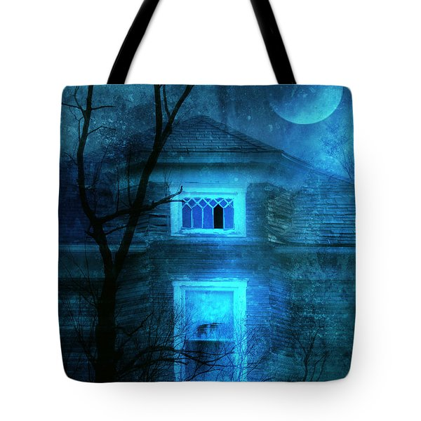 Spooky House With Moon Tote Bag by Jill Battaglia