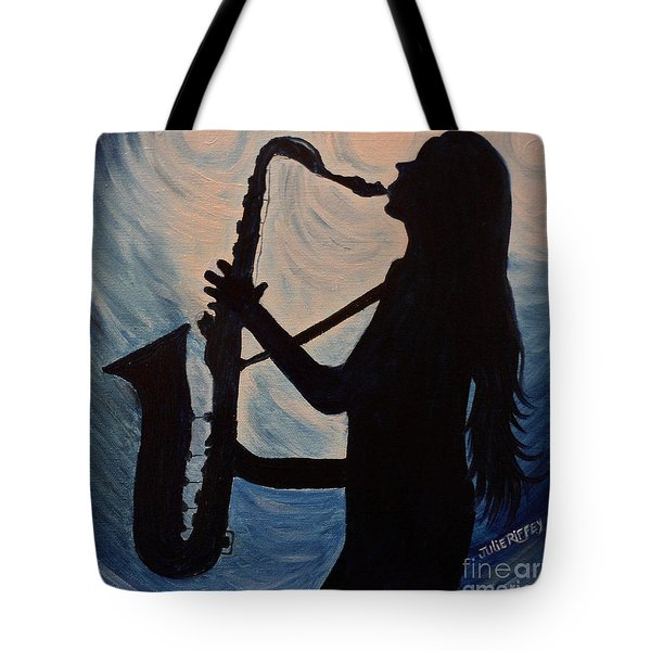 Spotlight On The Blues Tote Bag by Julie Brugh Riffey