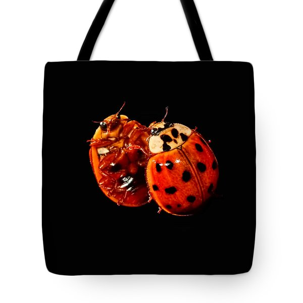 Tote Bag featuring the photograph Spotted Ladybug In Reflection by Tracie Kaska