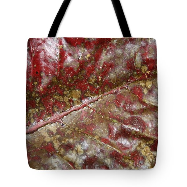 Spotted Red Leaf Tote Bag
