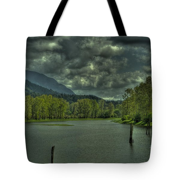 Spring Clouds At The Nicomen Slough Tote Bag