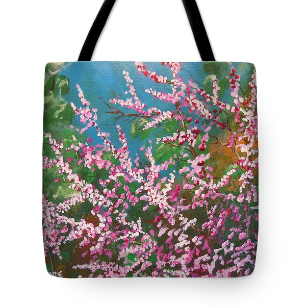 Tote Bag featuring the painting Springs Blossoms  by Dan Whittemore