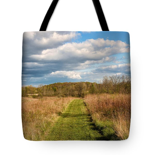 Spring's Mowed Path Tote Bag by Rachel Cohen