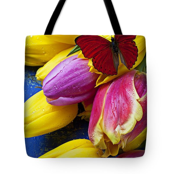 Springtime Tulips And Red Butterfly Tote Bag by Garry Gay