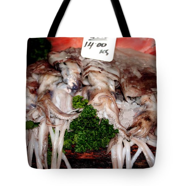 Squid For Sale Tote Bag by Heather Applegate