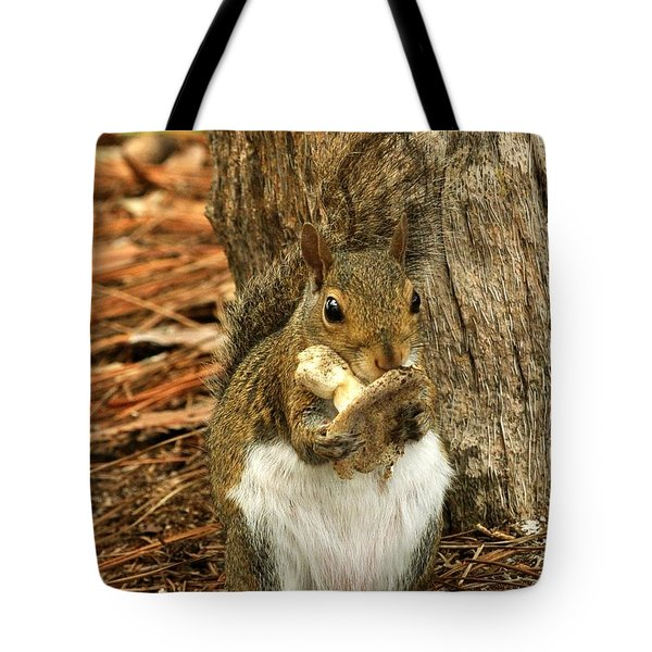 Squirrel On Shrooms Tote Bag by Rick Frost