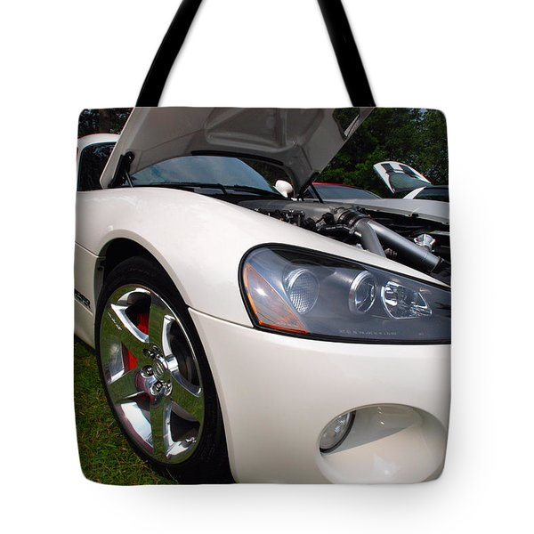 Tote Bag featuring the pyrography Ssss 2009 Dodge Viper by John Schneider