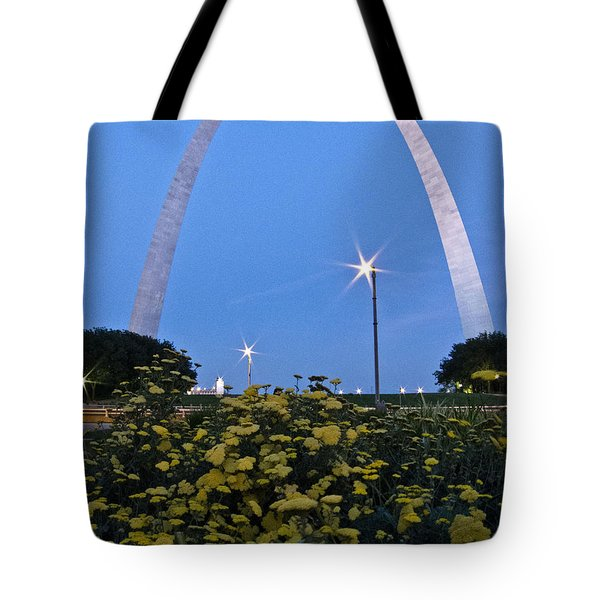 Tote Bag featuring the photograph St Louis Arch With Twinkles by Nancy De Flon
