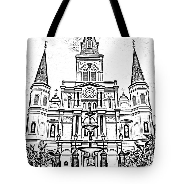 St Louis Cathedral And Fountain Jackson Square French Quarter New Orleans Photocopy Digital Art Tote Bag by Shawn O'Brien