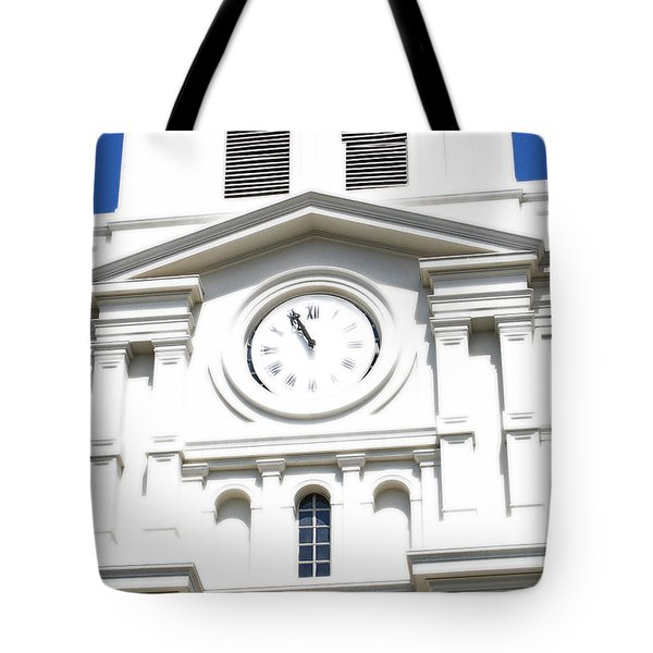 St Louis Cathedral Clock Jackson Square French Quarter New Orleans Diffuse Glow Digital Art Tote Bag by Shawn O'Brien