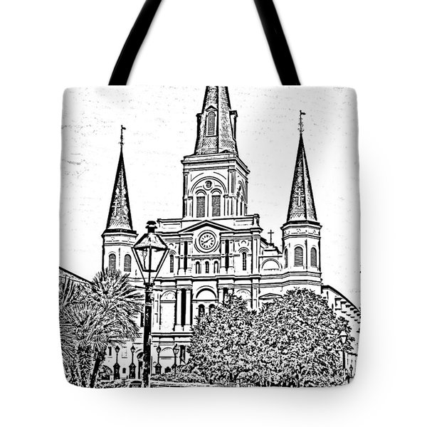 St Louis Cathedral Jackson Square French Quarter New Orleans Photocopy Digital Art  Tote Bag by Shawn O'Brien