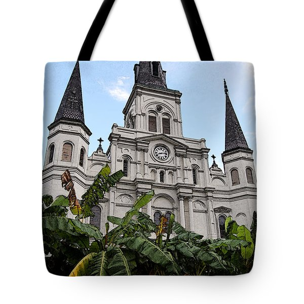St Louis Cathedral Rising Above Palms Jackson Square New Orleans Fresco Digital Art Tote Bag by Shawn O'Brien