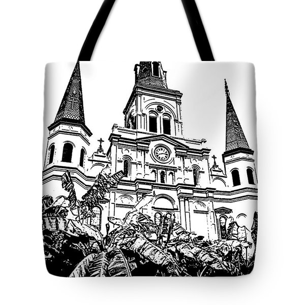 St Louis Cathedral Rising Above Palms Jackson Square New Orleans Stamp Digital Art Tote Bag by Shawn O'Brien