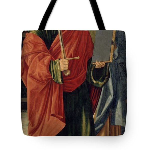 St. Paul And St. James The Elder Tote Bag by Cristoforo Caselli