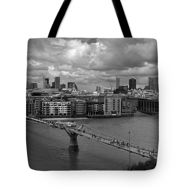 St Paul's And The City Panorama Bw Tote Bag