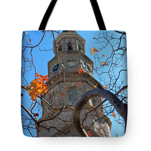 St. Philips Church Steeple - Charleston Sc Tote Bag by Suzanne Gaff
