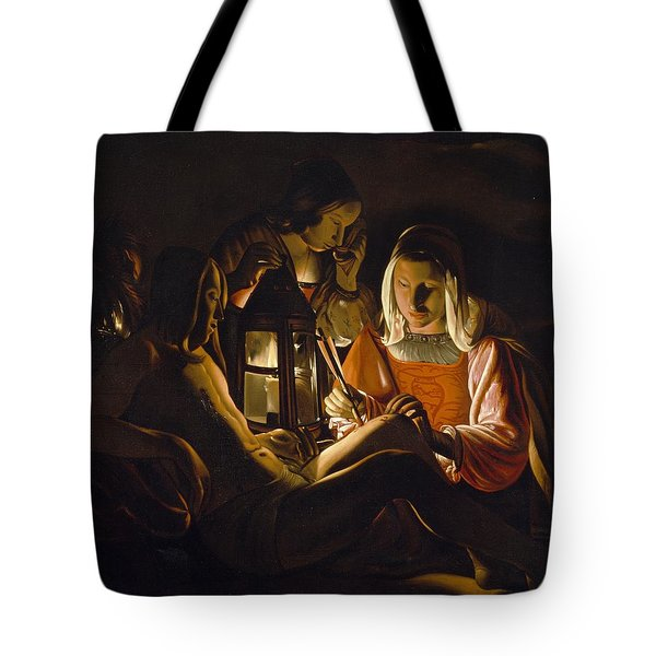 St. Sebastian Tended By Irene Tote Bag by Georges de la Tour