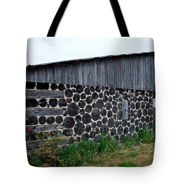 Tote Bag featuring the photograph Stacked Block Barn by Barbara McMahon