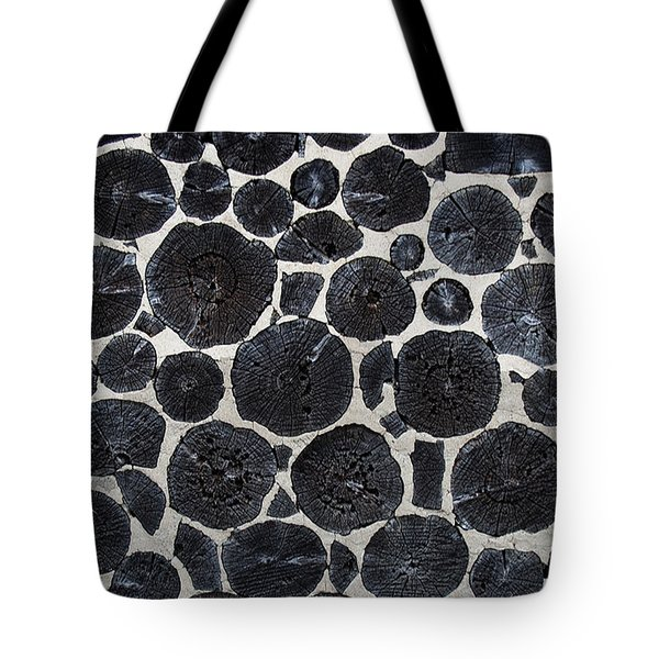 Tote Bag featuring the photograph Stacked Log Wall by Barbara McMahon
