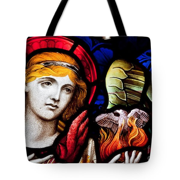 Tote Bag featuring the photograph Stained Glass Angel by Verena Matthew