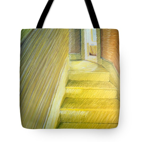 Stairwell In Malden Apartment 1978 Tote Bag by Nancy Griswold