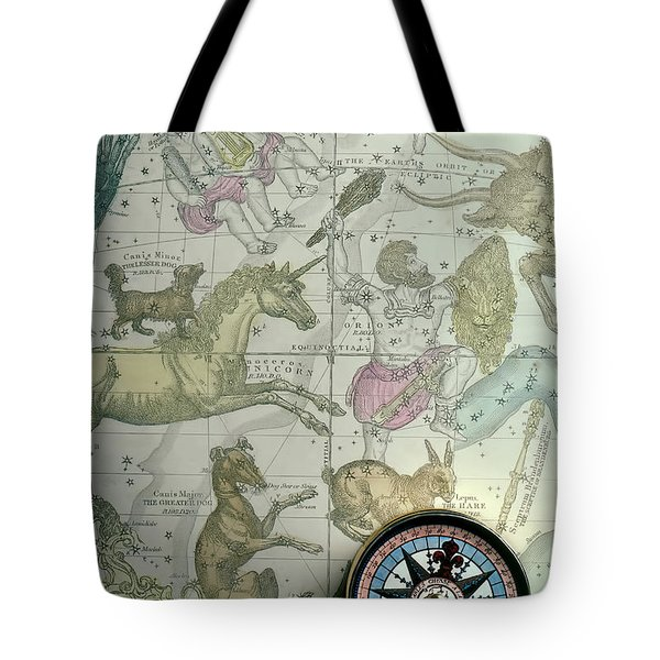 Star Map And Compass Tote Bag