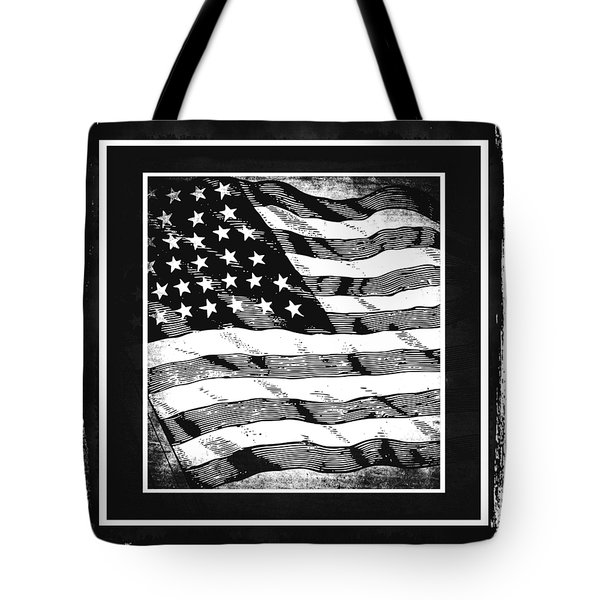 Star Spangled Banner Bw Tote Bag by Angelina Vick