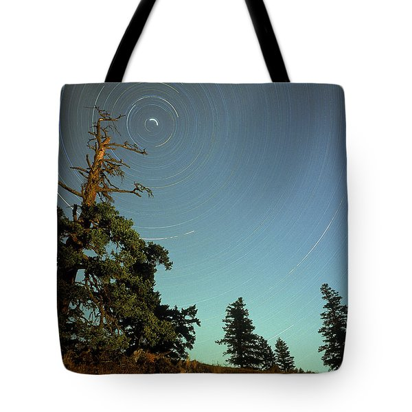 Star Trails, North Star And Old Douglas Tote Bag by David Nunuk