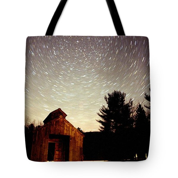Star Trails Over Sugar Shack Tote Bag by Rick Frost