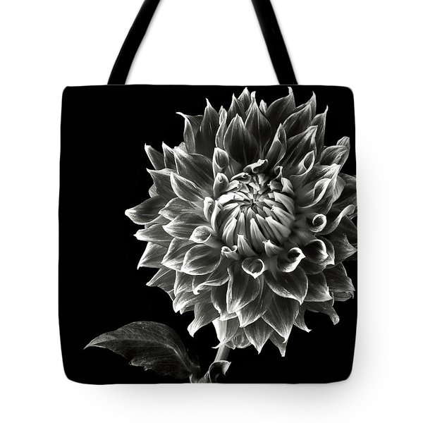 Tote Bag featuring the photograph Starburst Dahlia In Black And White by Endre Balogh